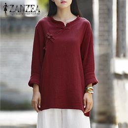 146fb72bc330fb ZANZEA Frauen Chinesischen Stil Baumwolle Leinen Tasten Langarm Herbst  Beiläufige Feste Bluse Lose Vintage Hemd Blusas Plus Größe günstig ...