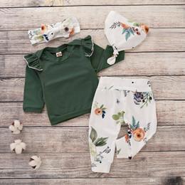 vêtements vintage filles pantalons Promotion INS vêtements pour enfants ensemble vêtements de bébé Vintage Flower Print Girls Fashion Tshirt Pantalon Chapeau Bandeau Automne Hiver Tenues Nouveau