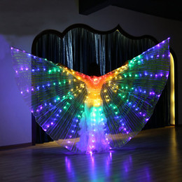 Grandes colores danza del vientre LED Alas mariposa bailarina traje para mujeres que brillan intensamente Oriental indio Bellydance Dancing accesorio Lite desde fabricantes