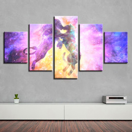 Tele scenario animali online-Home Room Paintings HD Stampato Decor 5 Pezzi Lion Animal Kissing Abstract Colore Scenery Canvas Pictures Poster Modulare Wall Art