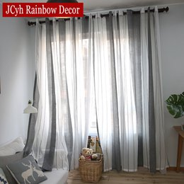2dc3583c0 Lino gris cortinas de tul puro para la sala de estar Rayas moderno cortinas  para la ventana del dormitorio Telas de cortina de gasa persianas cortinas
