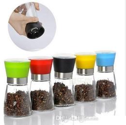 Wholesale Glass Spice Shakers Wholesale - Salt and Pepper mill grinder Glass Pepper grinder Shaker Spice Salt Container Condiment Jar Holder New ceramic grinding bottles b713