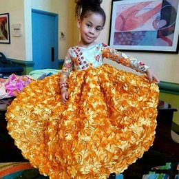 Wholesale Long Dress Skirts For Wedding - African Long Sleeves Flower Girls Dresses For Weddings Jewel Appliques Rose Skirt Girls Pageant Dress see Through Celebrity Kids Party Gowns