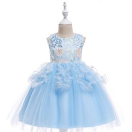 Wholesale Photo Christmas Balls - New Arrival 2018 Cheap Sky Blue Ball Gown Flower Girls Dresses Ruffled Tulle Lace Appliqued Tutu Dress Girls Pageant Gowns MC1667
