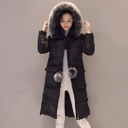 Wholesale womens pink coat fur - KUYOMENS Fashion Snow Wear Large Fur Collar Ladies Coats 2017 Winter Coat Women Parka Long Thick Slim Womens Coats And Jackets