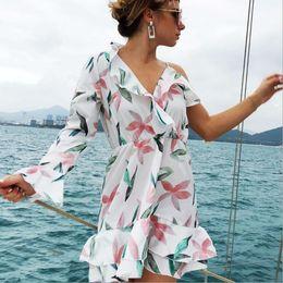 7e09494412 Fashion Women Summer Short Mini Dress V-neck Flower Printed Ladies  Sleeveless Beach Ruffle Evening Party Dresses