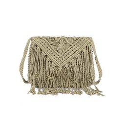 Wholesale Fabric Phone Covers - 2018 Bohemian Summer Crochet Cotton Crossbody Bags for Women Fashion Beach Knitted Messenger Bags Famous Designer Tassel Fringe Shoulder Bag
