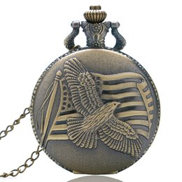 Wholesale Fashion Stationary - Antique Vintage Retro Bronze The Old Glory the Stars and the Stripes Quartz Pocket Watch Pendant Necklace Fashion Fob Watches Gift