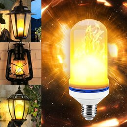 Wholesale Yellow Light Bulb Vintage - LED Flame Effect Light Corn Bulb E27 7W LED Simulated Flickering Vintage Flame lamps for Bar Xmas Holidays Festival Decoration
