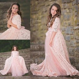 Wholesale Girls Easter Dress 12 - Jewel 12 Long Sleeves A Line Tulle Lace Pink Appliques Beautiful Custom Made New Coming Wedding Flower Girl Dresses