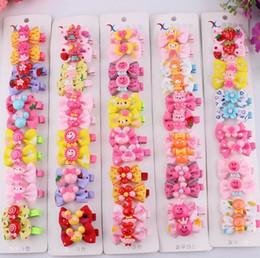 Wholesale Korean Acrylic Hair - Korean Hot Hairclips Cute Bow Ribbon Hair Accessories Cloth Cartoon Kids Headdress Acrylic Handmade Hairpins for Girls 6Pcs