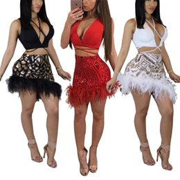 Wholesale Feather Skirt L - Women sleeveless sequins feather splice bodycon bandage club party cocktail skirts set mini short dress 2pc