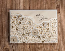 Wholesale white greeting cards - Wholesale- CW5181 white Foil laser cut wedding invitation free shipping printable& customized greeting birthday card SN208