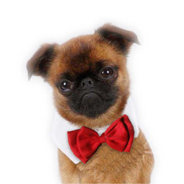 Wholesale Dog Red Costume - Fancy Cute Red Cats Dogs bow Tie Pet Wedding dog Grooming New year Bow tie Dog Gentleman Neckties dogs Bows Collar Pet Supplies