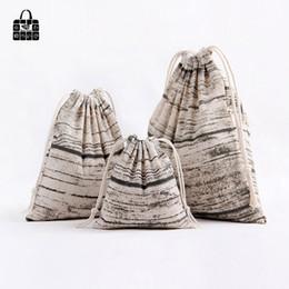 Wholesale Rolling Shoes - 1 pcs Vintage Wood grain cotton linen dust cloth bag Clothes socks underwear shoes receive bag home Sundry kids toy storage