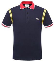 Camiseta rayada casual de los hombres 2018 nueva solapa de la moda POLO camisa de diseñador de lujo de la marca bordado de impresión de algodón de alta calidad camiseta 0805218 desde fabricantes