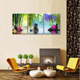 2019 moderne bambusmalereien Zen Paintings SPA Stein Grün Bambus Rosa Waterlily und Frangipani Bilder auf Leinwand Wandkunst Framed Modern Decor Gemälde Kunst günstig moderne bambusmalereien