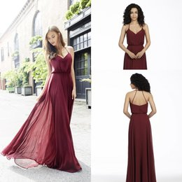 Wholesale Wedding Guest Dresses Long Sexy - 2018 New Arrival Burgundy A Line Chiffon Bridesmaid Dresses Sexy Straps Spaghetti V Neck Sheath Maid Of Honor Gowns Wedding Guest Wear