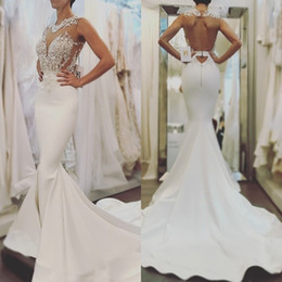 Wholesale fitted winter dresses - 2018 Babyonline Elegant White Mermaid Wedding Dresses Backless Sheer Neck Sexy Appliques Fitted Top Sweep Train Bridal Gowns