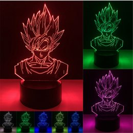 Wholesale fruit christmas gifts - Goku Dragon Ball 3D Illusion Lamp RGB Colorful Night Light USB Powered AA Battery Bin Dropshipping Gift Box Fast Shipping