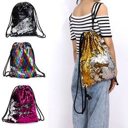 Wholesale black magic designs - 4 Colors Magic Reversible Sequin Drawstring Bag Mermaid Glittering Outdoor Travel Shoulder Bag Fashion Drawstring Design Backpack AAA674