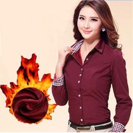 f8e2b0e63a Otoño Invierno Nueva tendencia dama Además de terciopelo cálido Camisas  formales Ropa de negocios Ropa de trabajo de oficina uniforme rojo Blusa  Remache Con ...