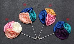 Wholesale Tri Suits - Tri-Colors Rose Lapel Brooches Pins Women Men Wedding Xmas Party Tuxedo Suit Ornament Handmade Flower Corsage Boutonniere Stick Brooch Pin