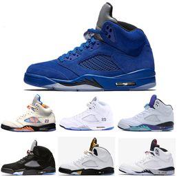 buy popular bbbf2 3efe5 Retro Air Jordan 5 5s Nike AJ5 Preiswerter 5 5s Mann-Basketball beschuht  silberne weiße Zement-Schwarz-Traubenraummarmelade gehende Turnschuhmänner  ...