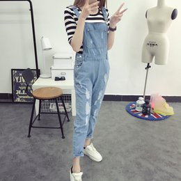 korean style jumpsuits Coupons - Korean Style Summer Denim Jumpsuits 2017 Fashion Women's Overalls Female Hole Preppy Style Loose Slim Denim Strap Trousers