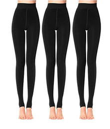 Wholesale Womens Winter Warm Leggings - Anmengte 3 Pieces In 1 Pack Womens Winter Black Warm Velet Stretchy High Waist Leggings Elastics Pantihose