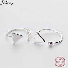 2019 anillo de plata de ley triangular Jisensp Classic 925 Sterling Silver Geometric Stackable anillo redondo triángulo abierto anillos de dedo para las mujeres joyería de la boda regalos rebajas anillo de plata de ley triangular