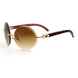cbdcac0939b0 Brand Designer Sunglasses Rimless Round Brown Gradient Lens Pattern Wood  luxury Gold Frame Fashion Women glasses Sunglasses for Men With Box