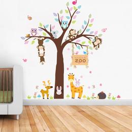 Büyük Sevimli Baykuş Maymun Ağacı Çıkartması Karikatür Duvar Çıkartmaları Hayvan Bitki Dekorasyon Çocuk Odası anaokulu Için Ev Dekor nereden baykuş maymun odası dekor tedarikçiler