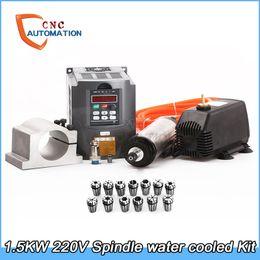 Enfriador de agua cnc online-Kit de husillo refrigerado por agua 1.5KW CNC Motor de husillo de fresado + 1.5KW VFD + 80mm abrazadera + bomba de agua / tubo + 13pcs ER11 para CNC