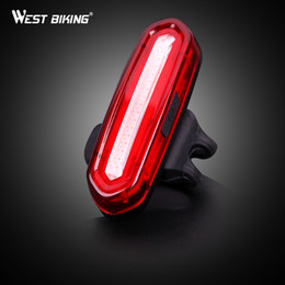 Wholesale Led Lamp Recharge - WEST BIKING Bicycle Taillight USB Recharging Bike Rear Bright LED Lamp MTB Rad Night Double Colors Warning Cycling Light