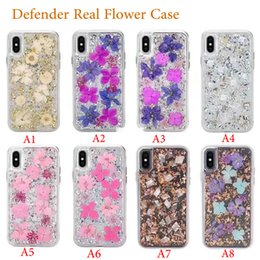caja de flores de tpu Rebajas Funda Defender con flor real para iPhone X XR Xs Máx 7 8 Plus 6 6S Tapa trasera de plástico Marco de TPU para Samsung S10 S10e S10 + S9 Plus S9 Shell