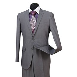 Smokings garçons d'honneur en Ligne-STOCK À USA Light Grey Groomsmen Hommes Costumes de mariage Fit Deux pièces avec un pantalon Wool Blend Tuxedos Fashion Groom Business Costumes de carrière ST004