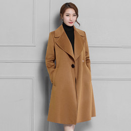 Wholesale camel wool coat women - 2018 Fall Winter New Women Wool Coats Full Sleeve Long Jackets Plus Size Warm Red Camel Black Coat Cashmere Manteau Femme N2A31A