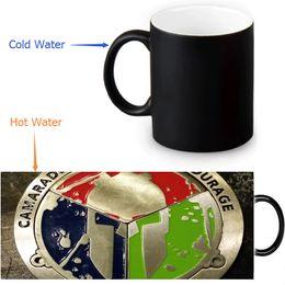 Wholesale Magic Cup Heat - cool Spartan Race mugs coffee mug heat reveal cup heat changing color magic mug