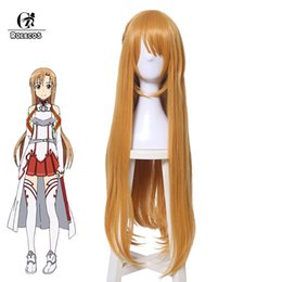 asuna cosplay Rabatt ROLECOS SAO Asuna Yuuki Cosplay Haarschwert Art Online Alicization Cosplay Headwear Lange Frauen Haar 80 cm 31,49 Zoll Synthetik