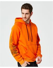 2019 velo de laranja Hoodies do velo do inverno homens rua casual clothing moletons pintura com capuz preto azul orange velo de laranja barato