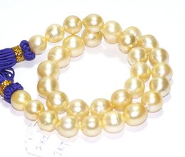 """Wholesale 14k yellow gold chain 18 - Fine Pearls Jewelry AAAA Luster 18""""12-14mm rare natural real South sea round gol.dencolorful pearl necklace 14K"""