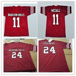 Wholesale lacrosse men - Mens Teen Wolf Football Jerseys stitched Red #11 TScott McCall #24 Stiles Stilinski Teen Wolf Beacon Hills Lacrosse Film Jersey Size S-3XL