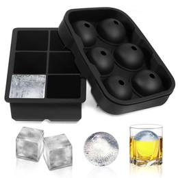 Wholesale black tubs - 2 pcs set Round Square Shaped Mix Whiskey Cocktail Big Black Ice Cube Tray 6 Holes Ice Cube Form Silicone Ice Mold