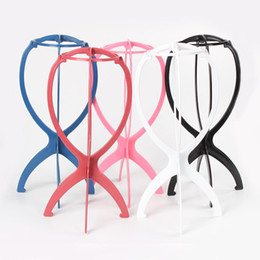 Wholesale Colorful Wigs Wholesale - Colorful Ajustable Wig Stands Plastic Hat Display Wig Head Holders 18x36Cm Mannequin Head Stand Portable Folding Wig Stand