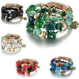 2019 agata pietre turchesi Donna Beach Jewelry 2018 Bohemian Shell Natural Stone Bracciale Multistrato agata turchese Perline Bracciali bracciali braccialetti goccia nave sconti agata pietre turchesi