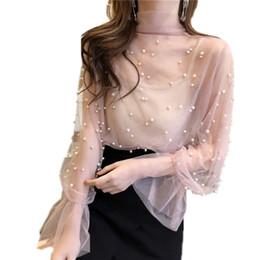 cordón hecho a mano de la camisa Rebajas Sexy Perspective Women's Shirt Sexy Top Flare Sleeve Lace Blusas Handmade Rebordear Pearl Office Mujeres Blusa Blusas Formales