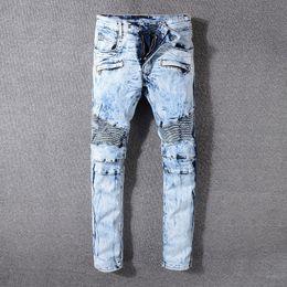 Wholesale men s brands harem pants - Balmain Fashion New mens designer biker jeans solid color fashion skinny Jogging pants casual man trousers brand Hip Hop Harem pants for men