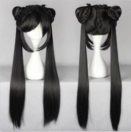Argentina Larga y negra recta Lady Girl Lolita peluca con dos coletas diseño peluca de pelo supplier two ponytails wig Suministro