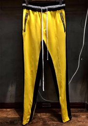Wholesale Urban Clothes Style - new style yellow white fog zipper pants hip hop Fashion urban clothing red green bottoms FOG jogger justin bieber pants